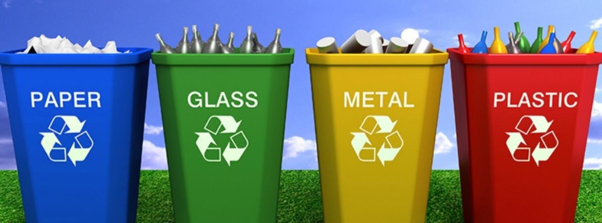 papier glas metaal en plastic afvalbakken