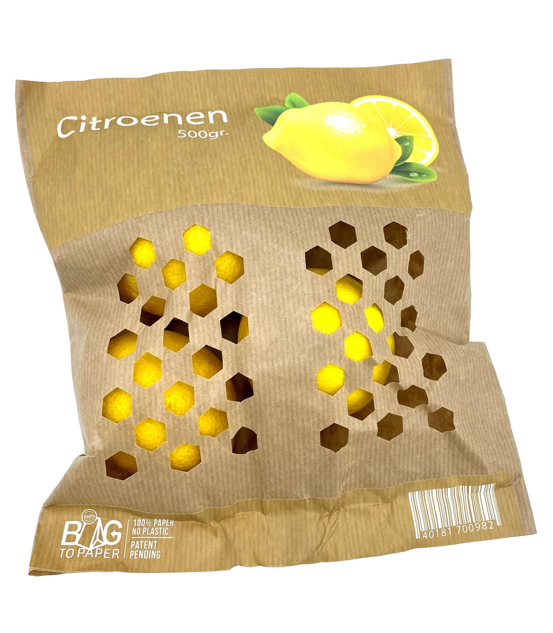 Papieren zak met citroenen